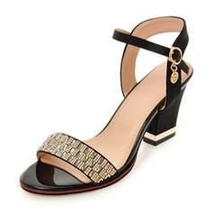 De mujer Cuero Tacón ancho Sandalias Salón Encaje Solo correa con Rhinestone Hebilla zapatos