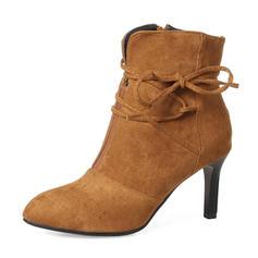 Dla kobiet Zamsz Obcas Stiletto Czólenka Kozaki Botki Z Kokarda Zamek błyskawiczny obuwie