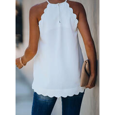 Print Round Neck Sleeveless Casual Blouses