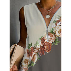 Print Floral V-Neck Sleeveless Casual Blouses