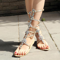 Women's Leatherette Flat Heel Sandals Flats Peep Toe Slingbacks With Rhinestone Buckle Hollow-out shoes