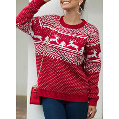 Print Cable-knit Christmas Round Neck Casual Christmas Ugly Christmas Sweater