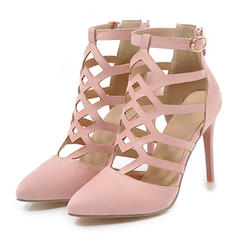 Women's Suede Stiletto Heel Sandals Pumps Closed Toe With Hollow-out shoes