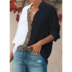 Color Block Leopard Lapel Long Sleeves Button Up Casual Shirt Blouses
