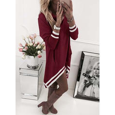 Striped Cowl Neck Knee Length Shift Dress