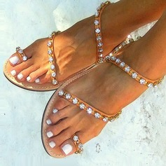 Frauen Kunstleder Flascher Absatz Sandalen Flache Schuhe Peep Toe mit Strass Schuhe