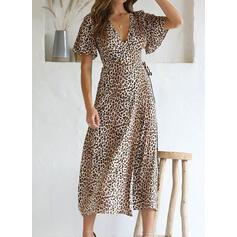 Tisk/leopard Krátké rukávy Áčkové Şal/Patinator Neformální Midi Rochii