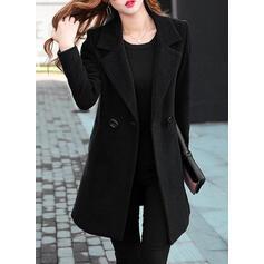Cotton Long Sleeves Plain Slim Fit Coats