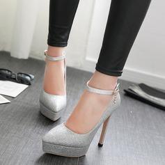 Frauen Funkelnde Glitzer Stöckel Absatz Absatzschuhe Plateauschuh Schuhe
