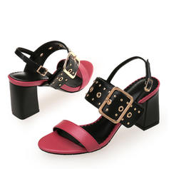Women's PU Chunky Heel Sandals With Rivet Buckle shoes