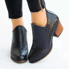 Dla kobiet PU Obcas Slupek Botki Z Zamek błyskawiczny obuwie