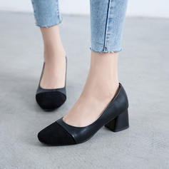 Women's Suede Chunky Heel Pumps With Split Joint shoes