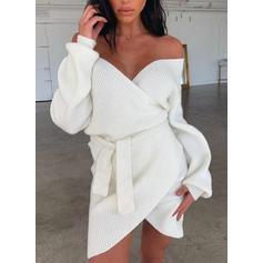 Sólido Punto De Cable Punto Grueso Cuello en V Vestido de Suéter