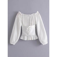 Solid Off the Shoulder Long Sleeves Casual Elegant Sexy Ruffle Blouses
