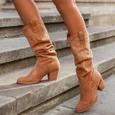 Чоботи середньої довжини Каблуки Круглий палець з Рюш Суцільний колір взуття
