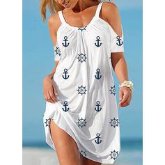 Print Short Sleeves/Cold Shoulder Sleeve Shift Above Knee Casual Dresses