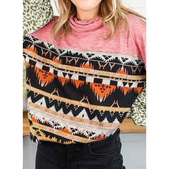 Leopard Print High Neck Long Sleeves T-shirts
