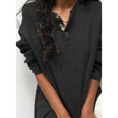 Einfarbig V-Ausschnitt Lange Ärmel Pullover