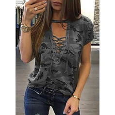 Print V-Neck Short Sleeves Casual Sexy T-shirts
