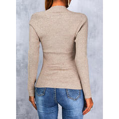Solid Square Collar Casual Sweaters