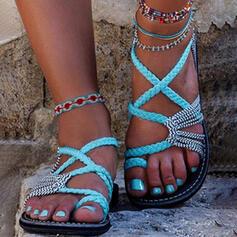 Femmes Talon plat Sandales À bout ouvert avec Ouvertes chaussures