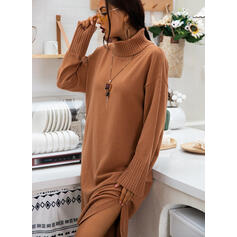 Solid Long Sleeves Shift Sweater Casual Midi Dresses