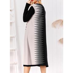 Imprimée/Couleur De Bloc Manches Longues Droite Midi Décontractée/Élégante Robes