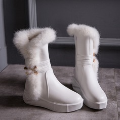 Women's Leatherette Flat Heel Boots Snow Boots With Buckle Fur shoes