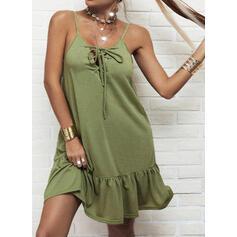 Solid Sleeveless Shift Above Knee Casual Slip Dresses