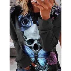 Kwiatowy Nadruk Skull Head butterfly Okrągły dekolt Długie rękawy T-shirty