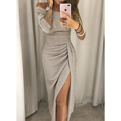 Solid 3/4 Sleeves Sheath Midi Sexy/Party Dresses