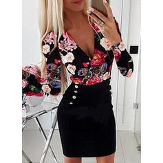 Print/Floral Long Sleeves Bodycon Above Knee Casual Dresses