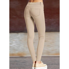Pevný Shirred Plus velikost Dlouho Elegantní Sexy Prostý Kalhoty