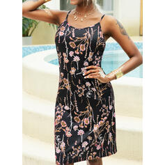 Print/Floral Sleeveless Sheath Above Knee Casual Slip Dresses