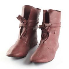 Femmes Similicuir Talon plat Bottines avec Dentelle chaussures