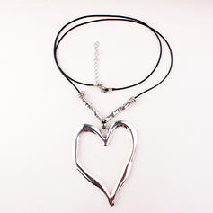Vintage Heart Shaped Boho Alloy Braided Rope Necklaces