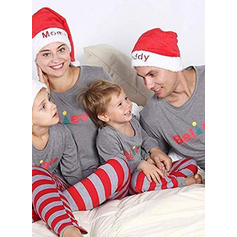 Letter Striped Family Matching Pajamas