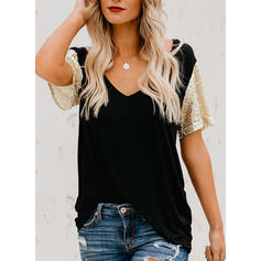 Sequins V Neck Short Sleeves Casual T-shirts