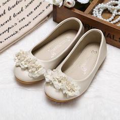 Mädchens Geschlossene Zehe Leder Flache Schuhe Blumenmädchen Schuhe mit Strass Blume