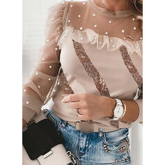 Sequins Beaded Round Neck Long Sleeves Elegant Blouses