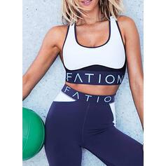 Decote em U Sem mangas Impressão Conjuntos desportivos Yoga Sets
