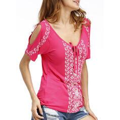 Print Cold Shoulder Sleeveless Casual T-shirts