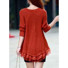 Jednolity Okrągły dekolt Sukienka sweterkowa