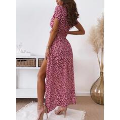 Nadrukowana/Kwiatowy Krótkie rękawy W kształcie litery A Okrycie/Łyżwiaż Casual Maxi Sukienki