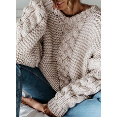 Solid Cable-knit Chunky knit Round Neck Casual Sweaters