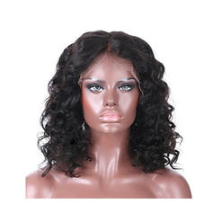 4A Non remy Loose Wavy Human Hair Lace Front Wigs 300g
