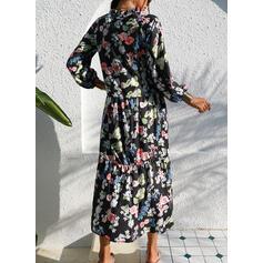 Imprimée/Fleurie Manches 1/2 Droite Tunique Décontractée/Vacances Midi Robes