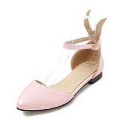 Mulheres Couro Sem salto Sandálias Sem salto Fechados Mary Jane com Fivela sapatos
