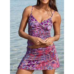 Floral Print Strap V-Neck Vintage Fresh Tankinis Swimsuits