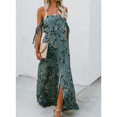 Print/Floral Short Sleeves A-line Sexy/Party Maxi Dresses